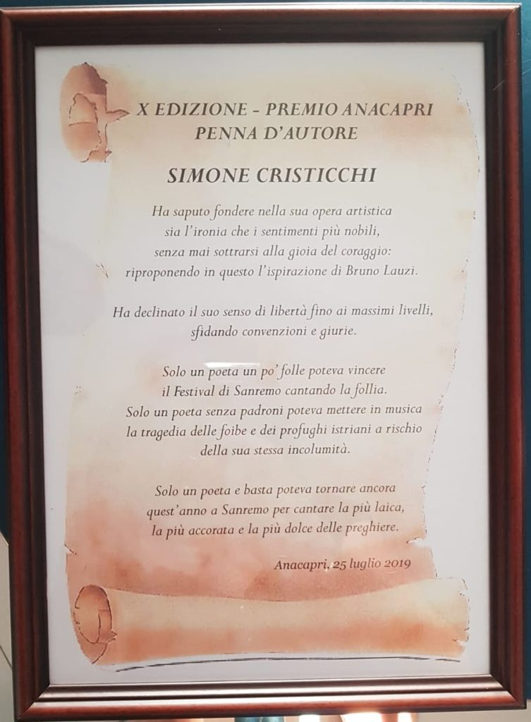 Simone Cristicchi - Premio Anacapri - Penna d'Autore