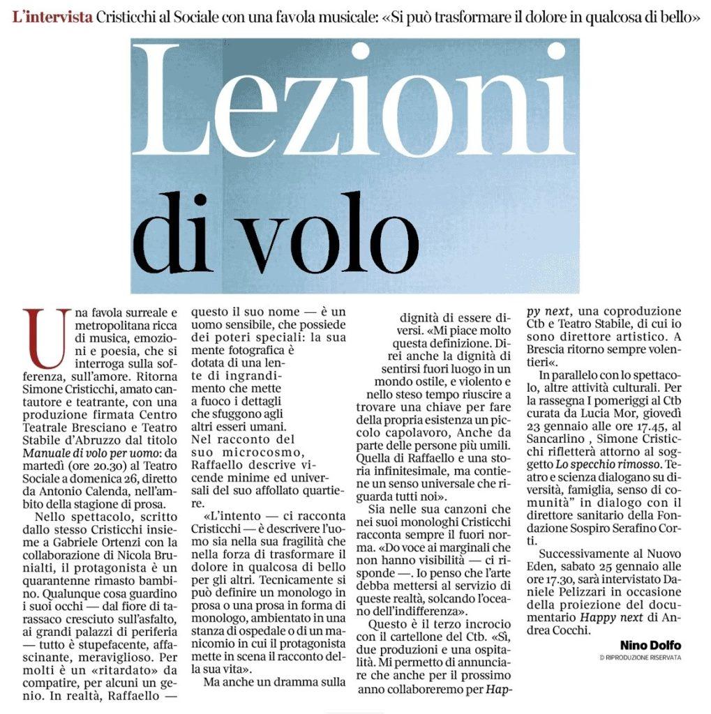 Simone Cristicchi - Corriere della sera Brescia 19 01 2020