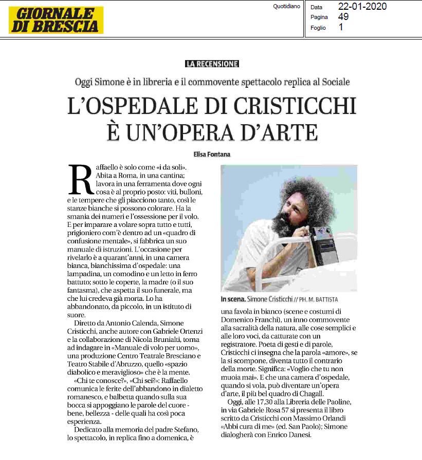 Simone Cristicchi - Recensione Giornale Di Brescia